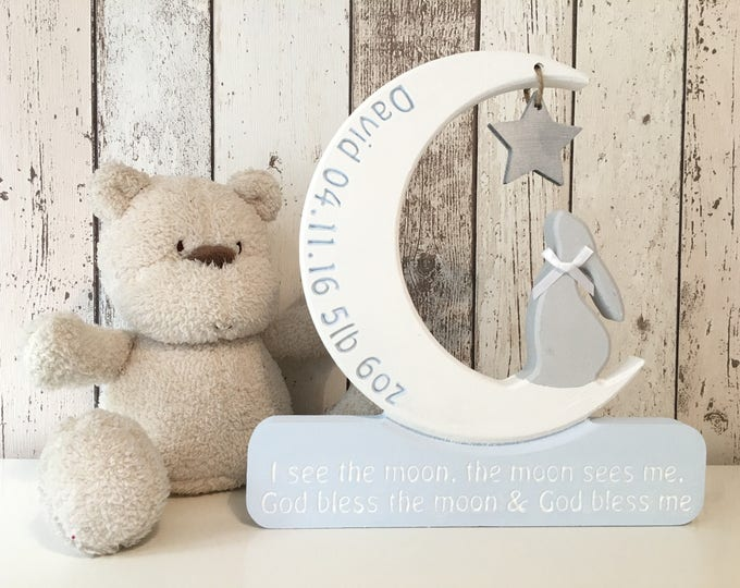 New baby star gazing bunny personalised i see the moon nursery gift