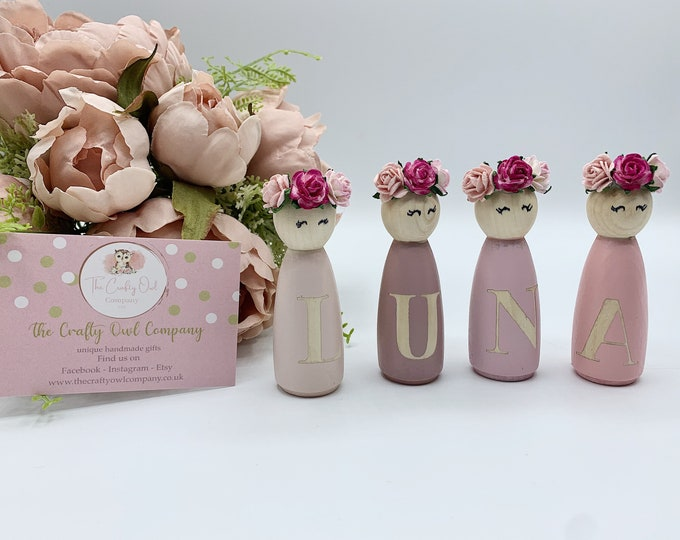 Pretty personalised peg dolls