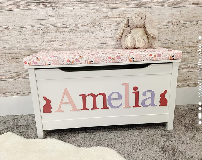 Personalised Springtime hare toy box
