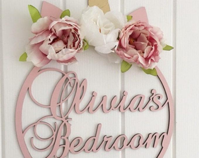 Personalised floral unicorn door sign