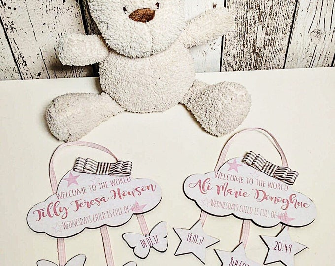 Personalised new baby wall sign