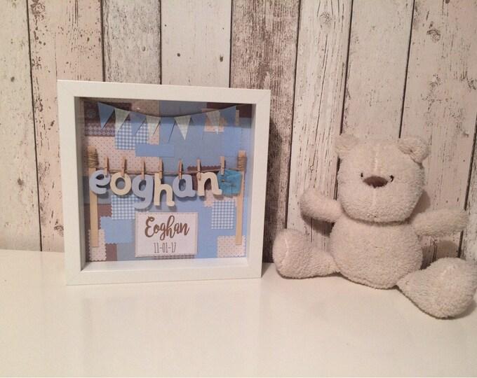 Personalised baby boy new baby handmade gift keepsake