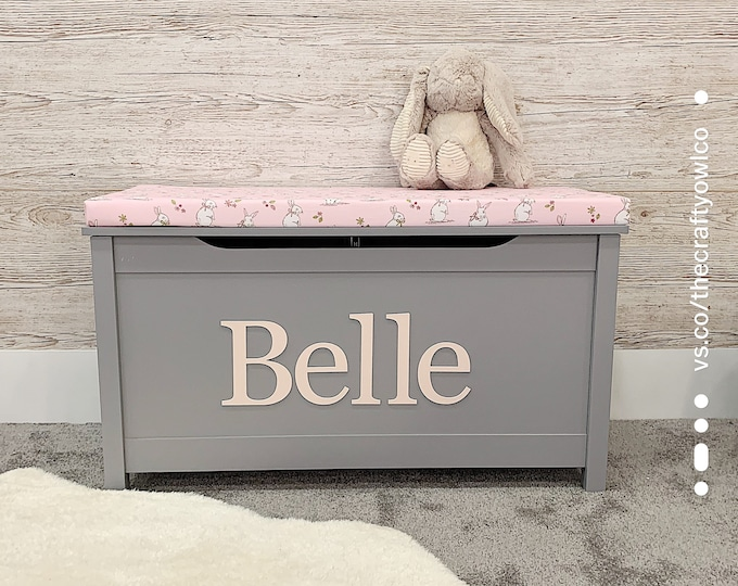 Personalised grey Toy box with Bunny cushion