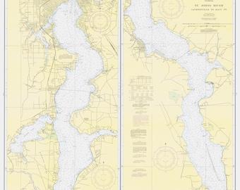 St Johns Florida Map.St Johns River Etsy