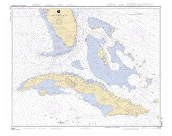Cuba To Florida Map.Florida To Cuba Map Etsy