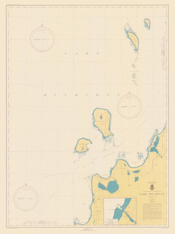 Lake Michigan Map Platte Bay To Leland Chart 705 1944 Etsy