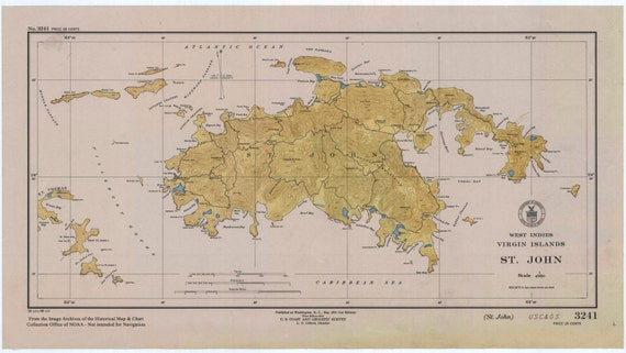 1948 World Map.St John Map Usvi West Indies 1948 Etsy