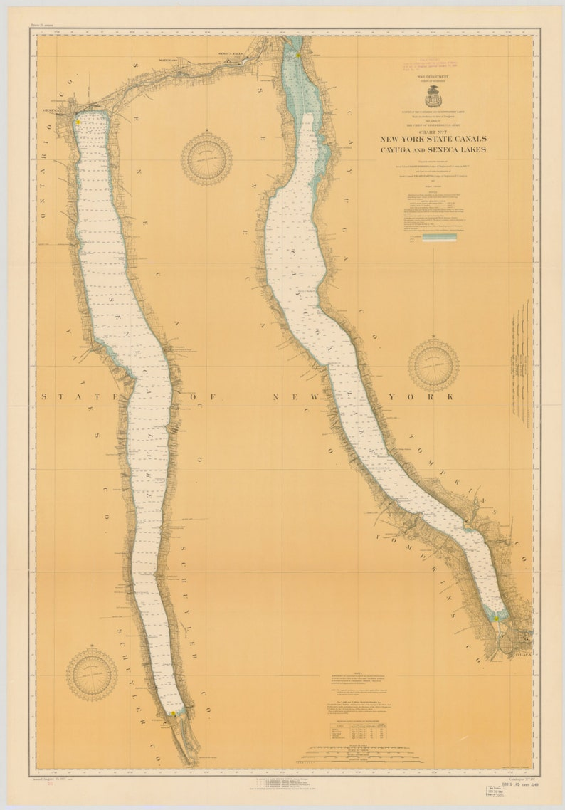 1955 Historical Map Michigan Inland Route of Navigation