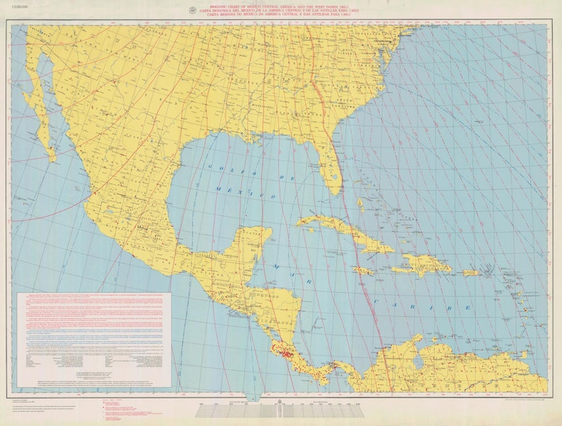 United States Map - Mexico, Central America, West Indies Map 1965