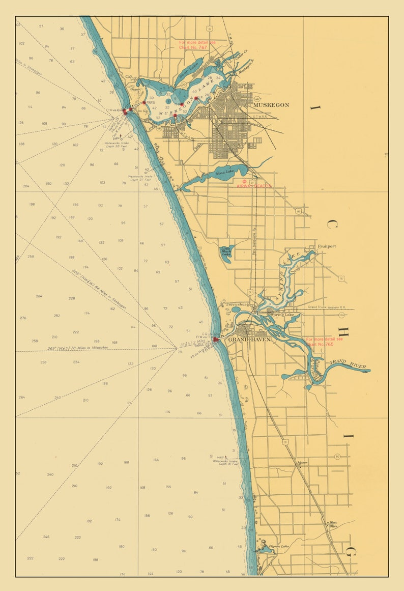 Lake Michigan Map Muskegon To Pigeon Lake 1947 Etsy