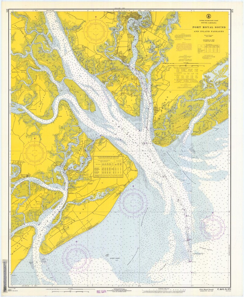 Port Royal Sound Map South Carolina Historical Chart 1966 | Etsy