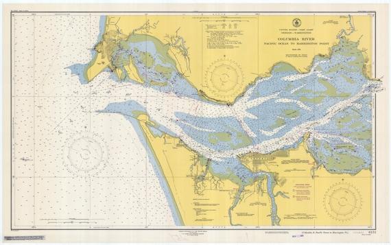 Columbia River Astoria Oregon Historical Map 1948 Etsy