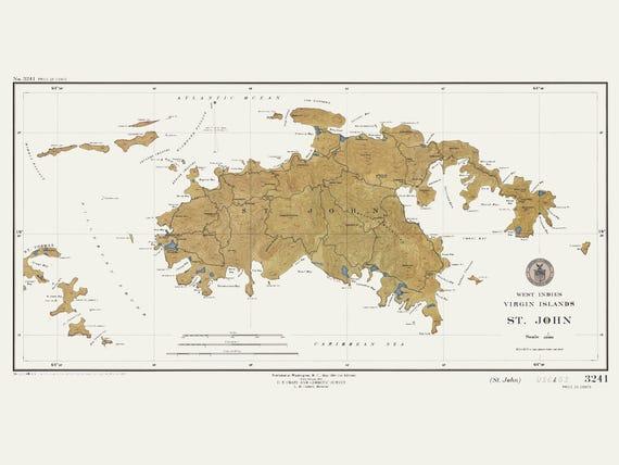 1948 World Map.St John Map Usvi West Indies 1948 Light Etsy