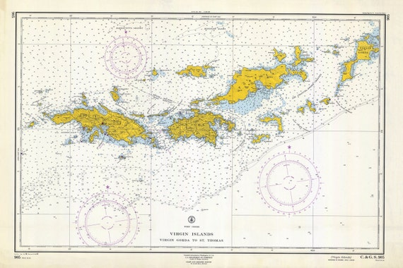 Virgin Islands Map (St. Thomas to Virgin Gorda) - 1962