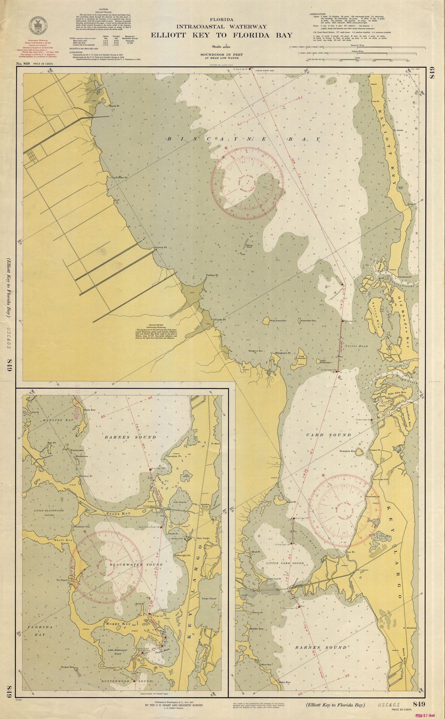 Map Of Florida Bay.Elliott Key To Key Largo Florida Bay Map 1939 Etsy