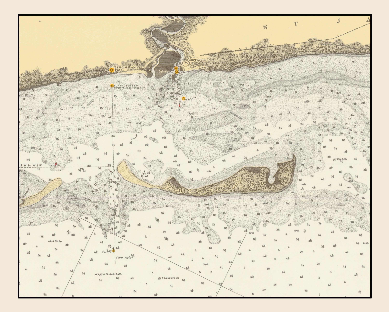 Dog Island Florida Map.Dog Island Map 1936 Etsy