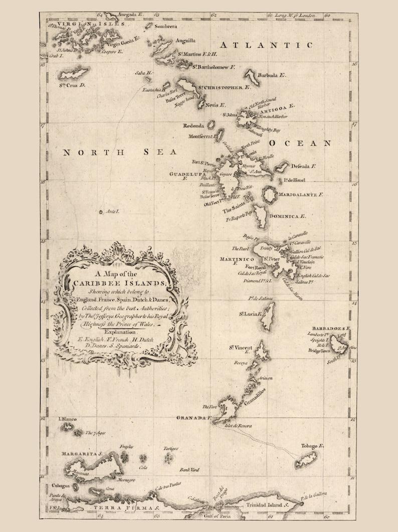 Caribbean Islands Map - 1756 on