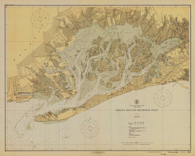 Map Of New York Jamaica.Jamaica Bay Map Rockaway Inlet New York 1926 Historical Chart