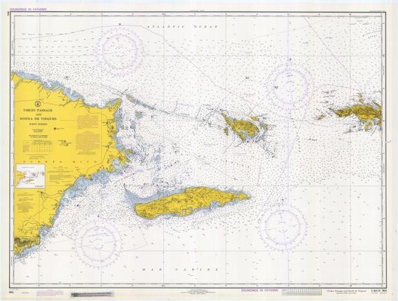 Virgin Island Map Passage Puerto Rico to St. Thomas | Etsy
