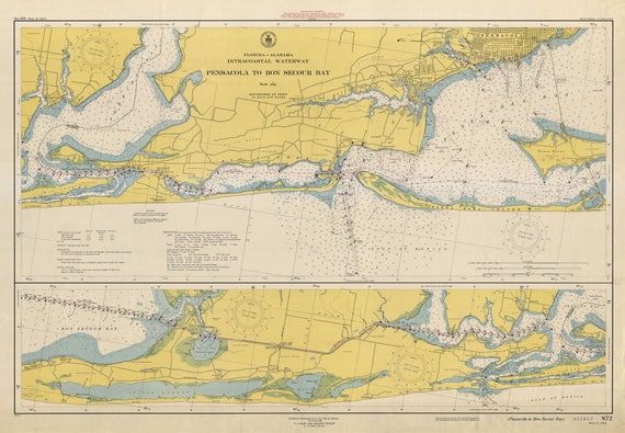 1948 World Map.Pensacola To Bon Secour Bay Historical Map 1948 Etsy