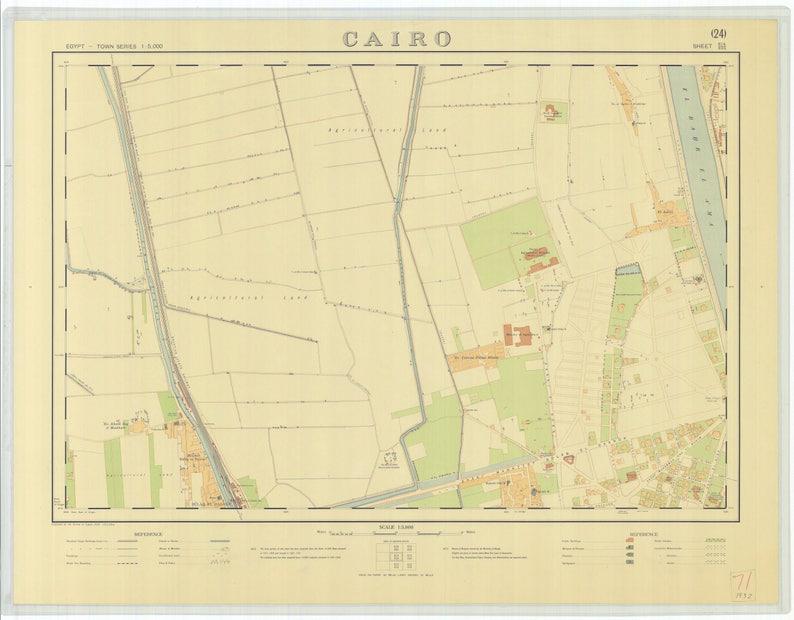 Cairo Egypt Map 1932 Etsy