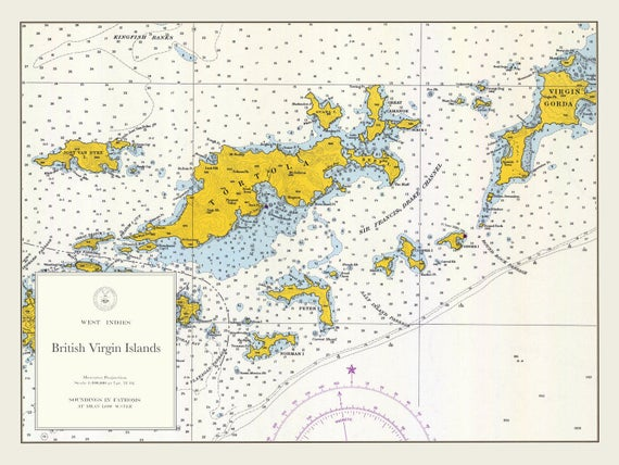 British Virgin Islands Map BVI 1962 | Etsy