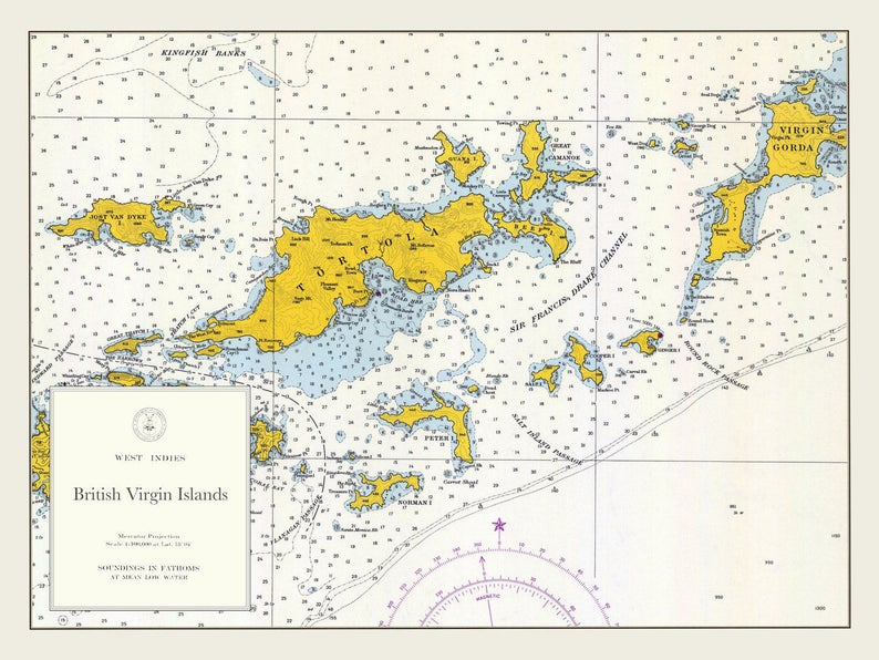 British Virgin Islands Map BVI 1962 | Etsy on