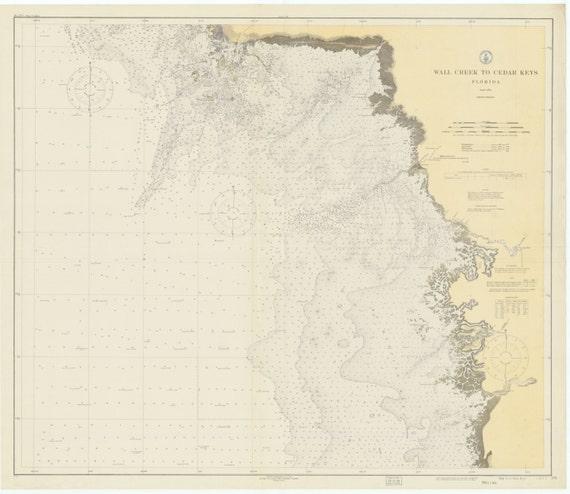 Cedar Key Florida Map.Wall Creek To Cedar Keys Florida Historical Map 1931 Etsy