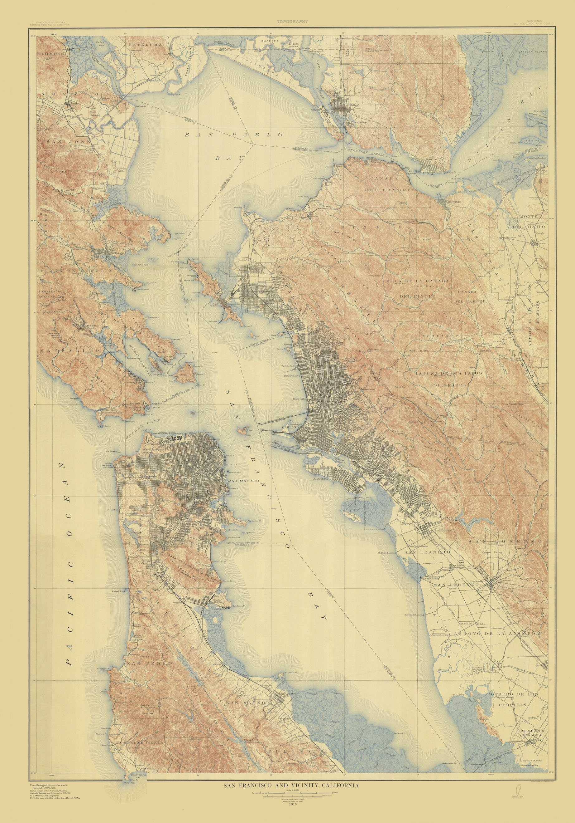 San Francisco Bay Map - 1915 on sfo bay map, central valley map, mojave desert map, hudson bay map, chicago map, delaware bay map, san pablo bay map, puget sound map, lake erie map, california map, chesapeake bay map, great basin map, st. helena bay map, sierra nevada map, monterey bay map, festival of sail map, lake michigan map, death valley map, angel island map, rocky mountains map,