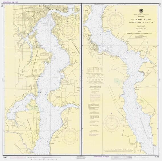 St Johns Florida Map.St Johns River Florida Map 1980 Etsy