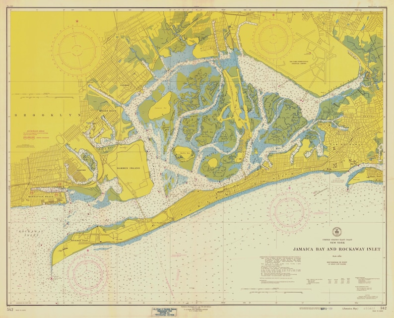 Map Of New York Jamaica.Jamaica Bay Map Rockaway Inlet New York 1954 Historical Etsy