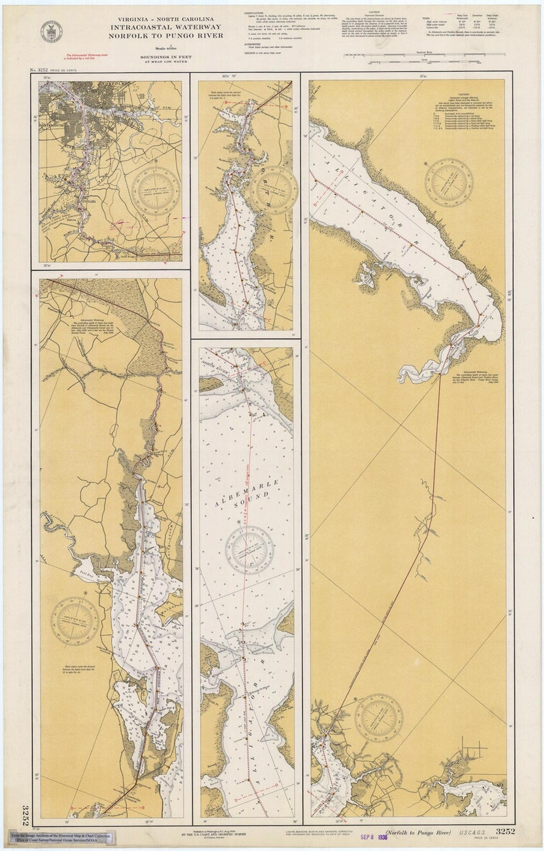 Intracoastal Waterway Map - Norfolk to Pungo River 1936