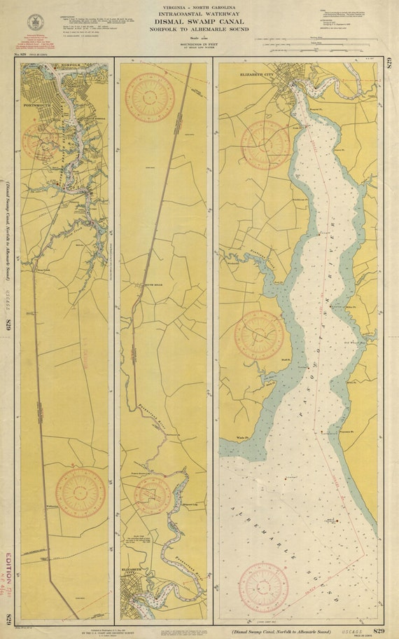 Dismal Swamp Canal Intracoastal Waterway Map - Norfolk to Albemarle Sound -  1940