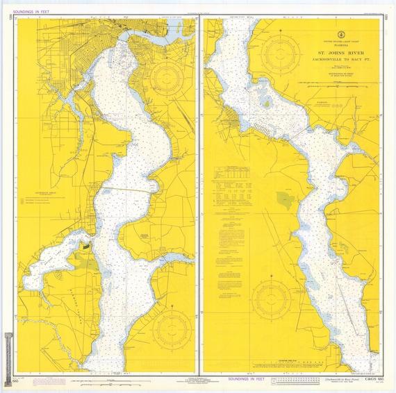 St Johns Florida Map.St Johns River Florida Map 1972 Etsy