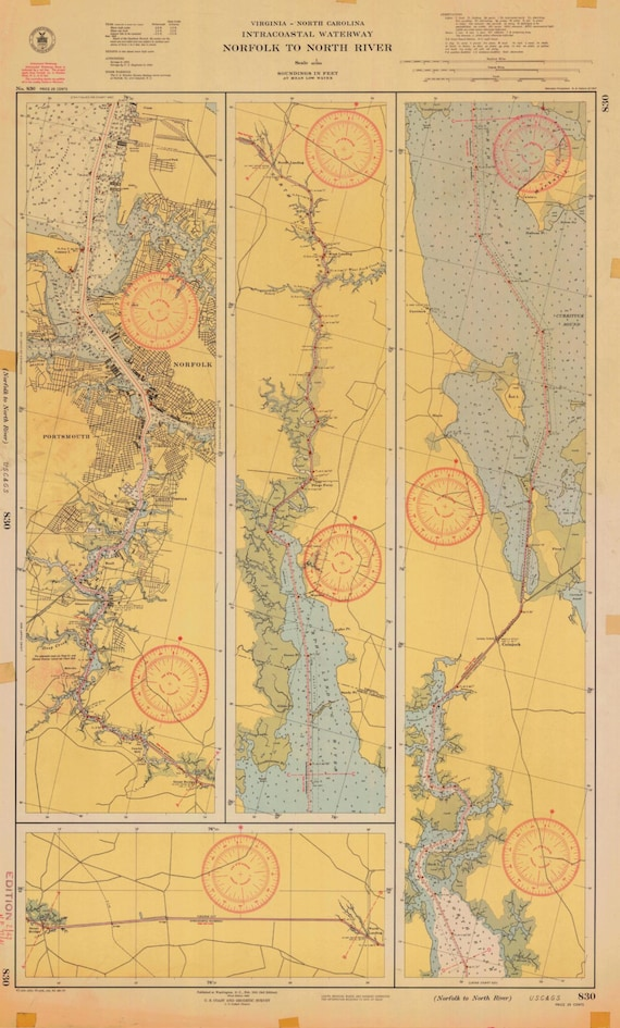 Intracoastal Waterway Map - Norfolk to North River - 1946