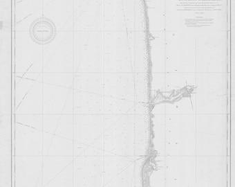 Lake Michigan - Eastern Shore Historical Map 1905
