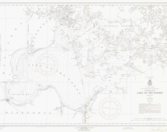 Lake of the Woods Historical Map 1958 (black & white)
