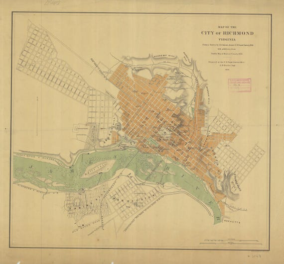 Richmond Virginia Map 1864