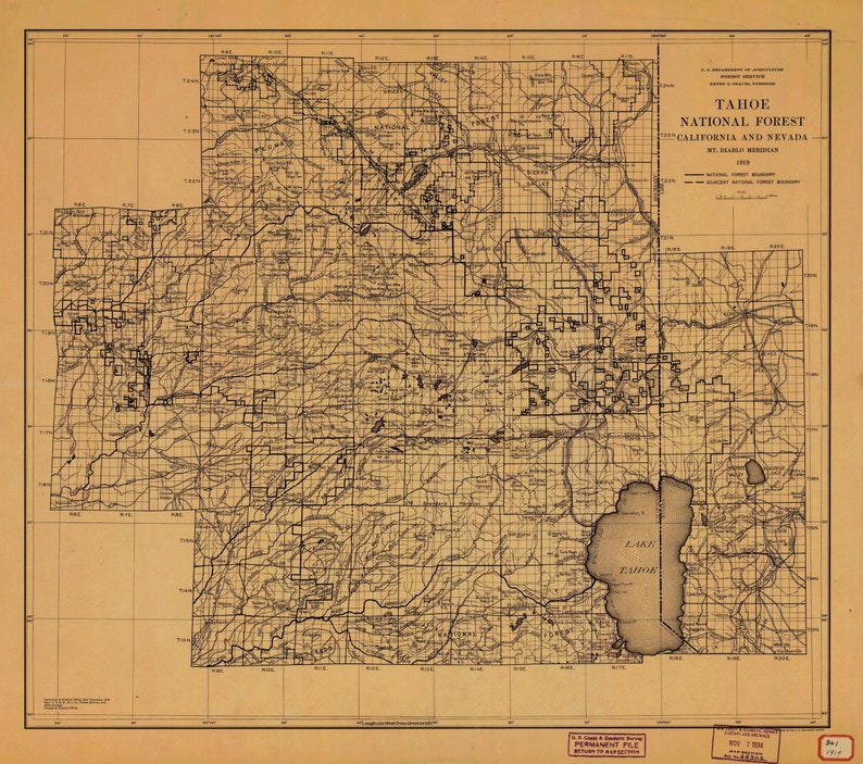 Tahoe National Forest Map - 1919