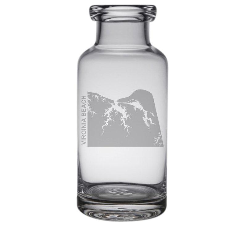 Virginia Beach Map Engraved Glass Carafe