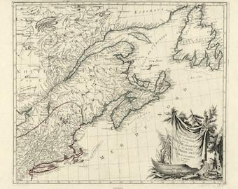Canada - North Atlantic Map - 1776
