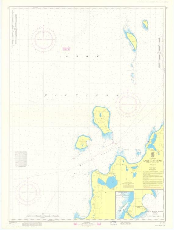 Lake Michigan Map Platte Bay To Leland Chart 705 1970 Etsy