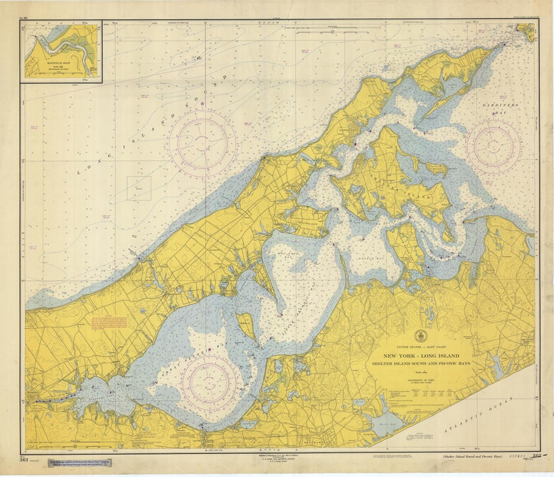 Shelter Island Sound Map & Peconic Bay Map - Long Island 1952 on rhode island waterways map, lincoln island map, st bonaventure map, whitestone map, blue point map, suffolk county map, fire island map, farmingdale map, east hampton map, asharoken map, brookhaven map, great river map, admiralty island map, sag harbor map, gardiners island map, islandia map, mission gorge map, longview lake shelter map, plum island new york map, rhode island sound map,
