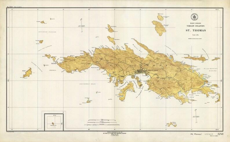 St. Thomas Island USVI Historical Map 1946 | Etsy