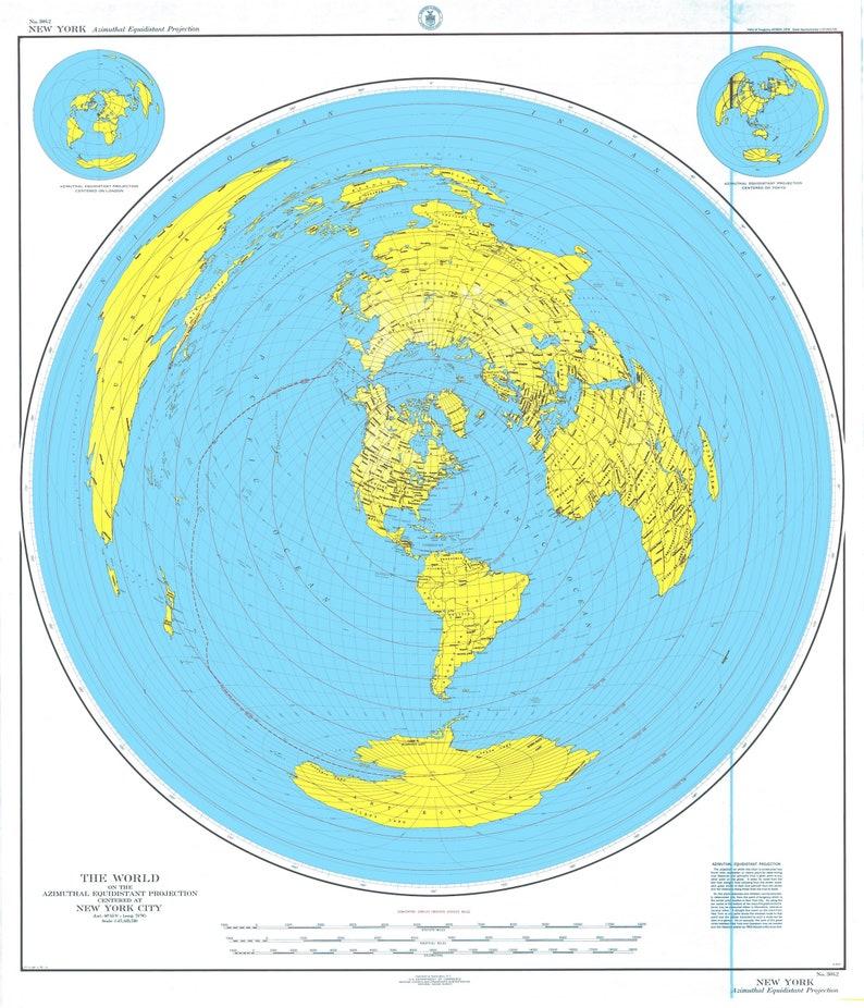 World Map Centered At New York City Etsy