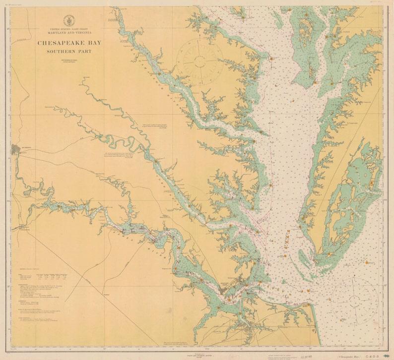 Chesapeake Bay Map 1914 | Etsy on