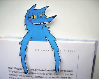 Wolf bookmark - Big Nerd Wolf, blue, funny bookmark, cute animals