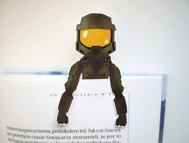 Halo master chief bookmark / halo 5 game helmet armor art ornament