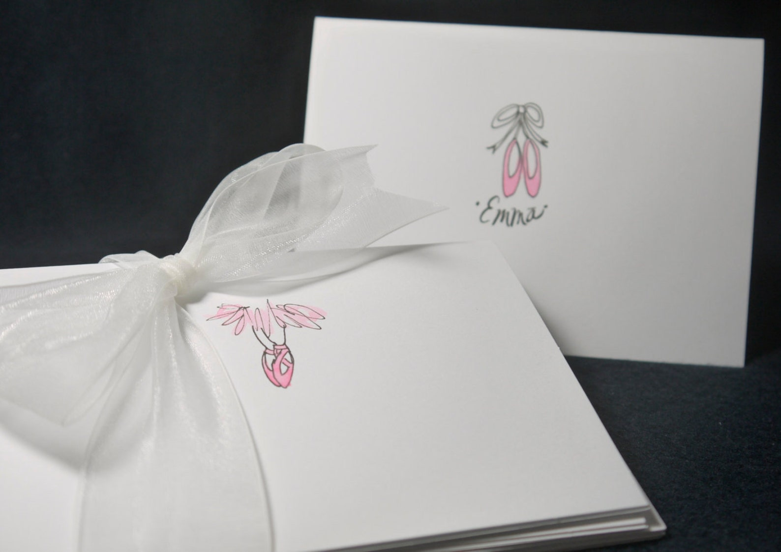 ballet themed - note cards - hand-drawn and personalized folded white note cards, 4