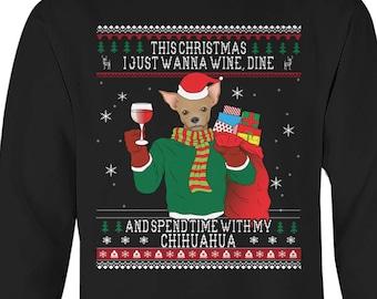 chihuahua dog ugly christmas sweaterfunny christmas sweater ugly xmas dog christmas tee ugly sweater party chihuahua mom